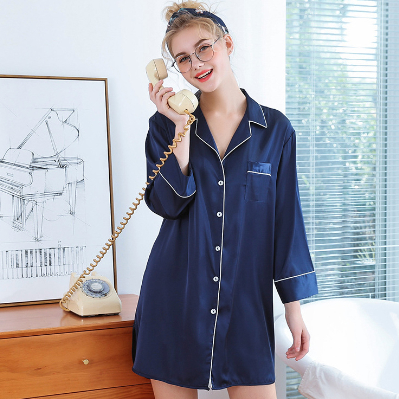 SSH0306   Nightgown   Women Sexy Short Nightdress Spring Summer Ladies   Nightgown     Sleepshirt   Female V Neck Sleepwear Women Nightwear