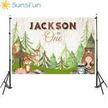 Sunsfun animali neonato doccia sfondo fotografico Woodland party decoration banner fox bear sfondo per studio fotografico