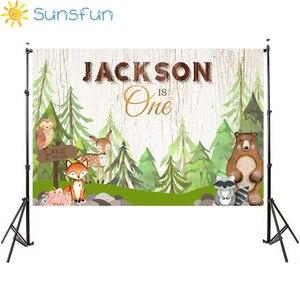 Image 1 - Sunsfun الحيوانات الوليد استحمام الطفل صورة خلفية الغابات ديكور الحفلات راية الثعلب الدب خلفية للتصوير استوديو