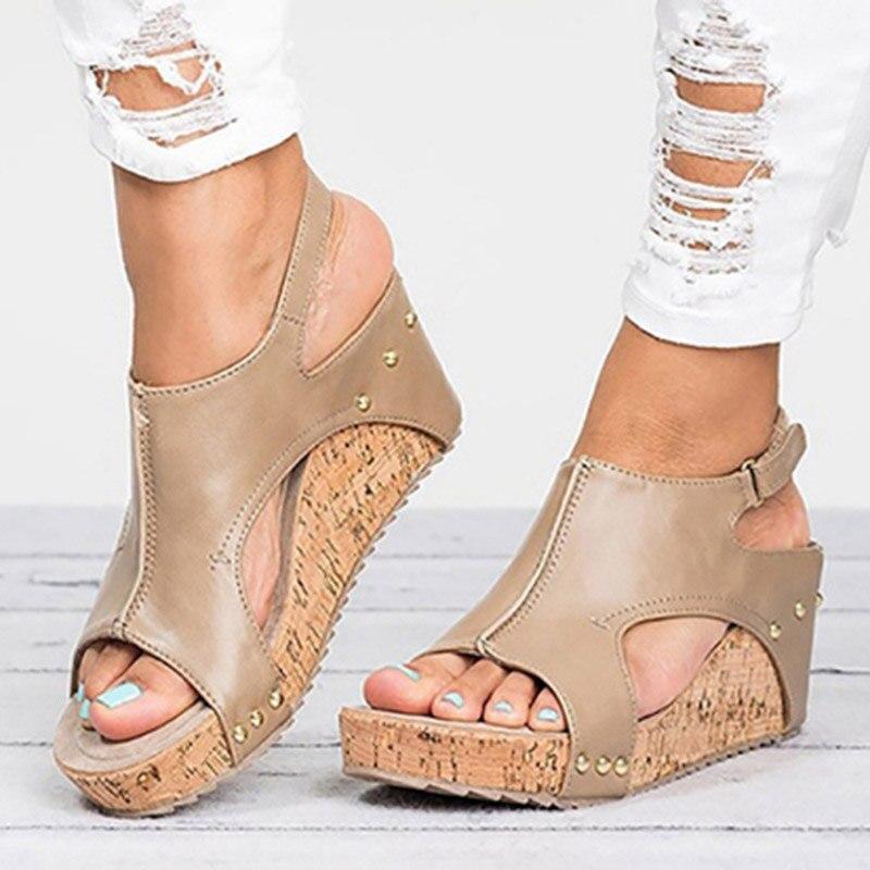 Women Sandals 2019 Platform Sandals Wedges Shoes For Women Heels Sandalias Mujer Summer Shoes Leather Wedge Heels Sandals 43