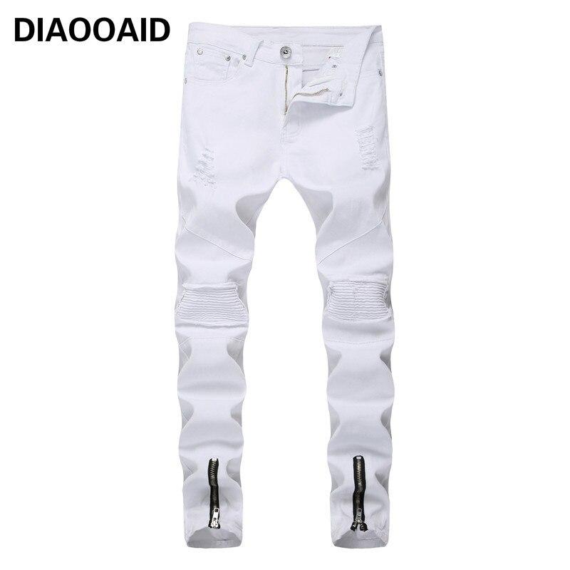 2018 Gerade Zerstört Jeans Dünne Beiläufige Riss Männer Jeans Männer Qualitäts-baumwolle Dünne Falten Männlichen Destoryed Denim Hosen