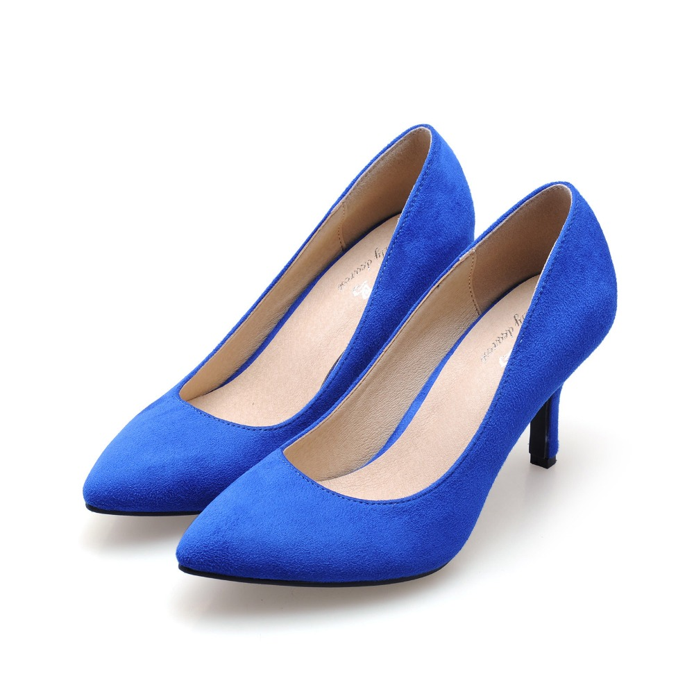 Ladies Korean fashion pumps new spring summer women comfortable ol  single shoes pointed flock shallow mouth Bridesmaid heels lin king fashion pearl pointed toe women flats shoes new arrive flock casual ladies shoes comfortable shallow mouth single shoes