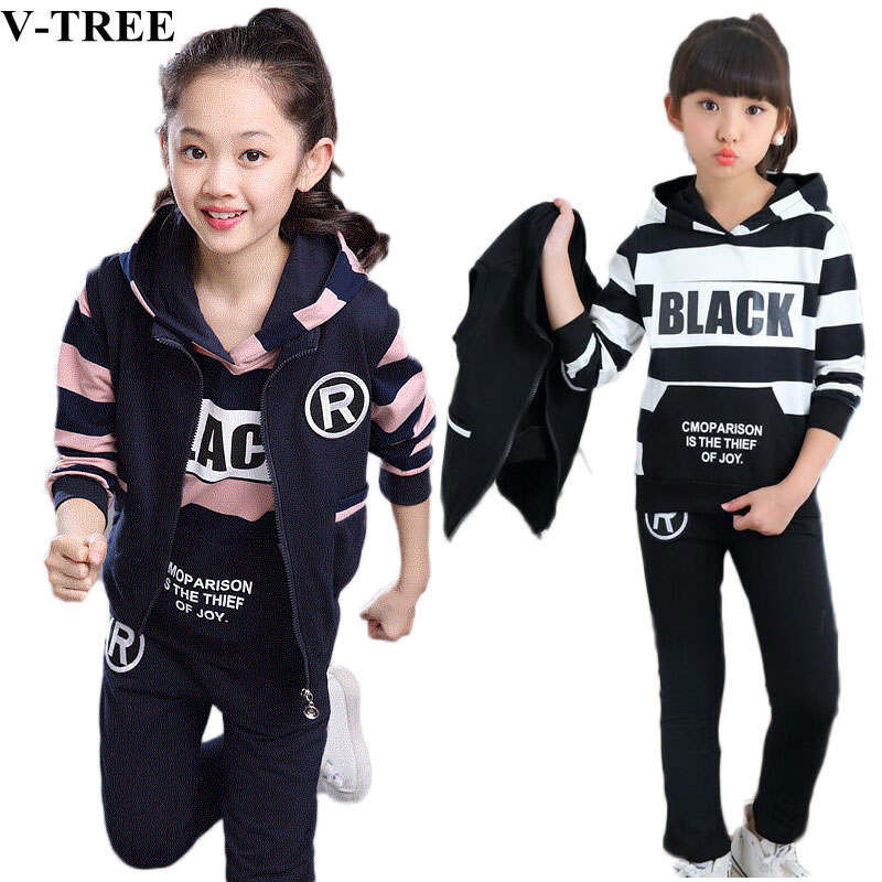 Autumn Winter Girls Clothing Sets 3pcs/set Clothes Sets For Children 3 12T Teenager Sport Suits 10 12 School Kids Tracksuits