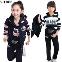 Autumn Winter Girls Clothing Sets 3pcs/set Clothes Sets For Children 3 12T Teenager Sport Suits 10 12 School Kids Tracksuits