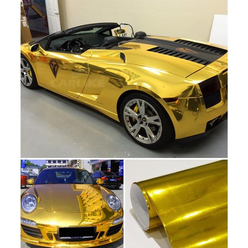 2019 Waterproof UV Protected Gold Chrome Mirror Vinyl Wrap Sheet Roll Film Car Sticker Decal Sheet OX