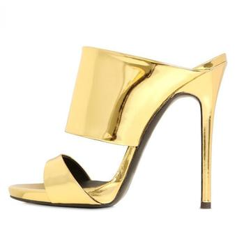Carpaton 2018 Mature Ultra high-heeled broadband combination open toe sandals slippers golden fashion women's shoes