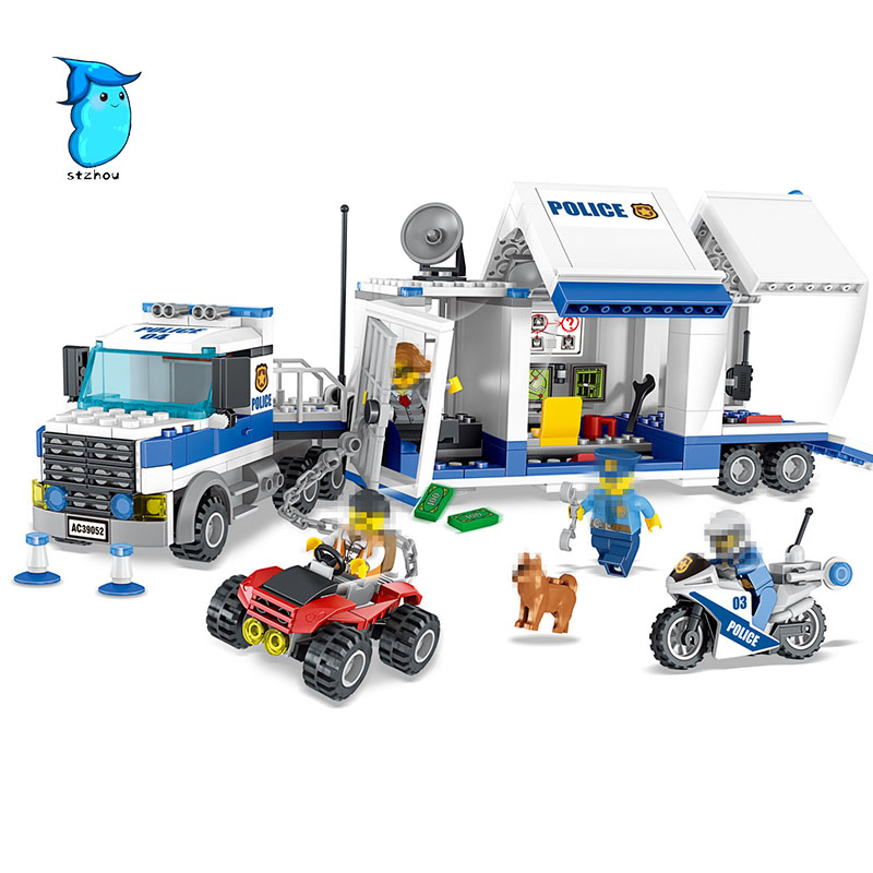 StZhou 398pcs City Police Mobile Command Center Building Blocks Sets Bricks Kids Model Kids Toys Marvel Compatible Legoe lepin building blocks sets city explorers jungle halftrack mission bricks classic model kids toys marvel compatible legoe
