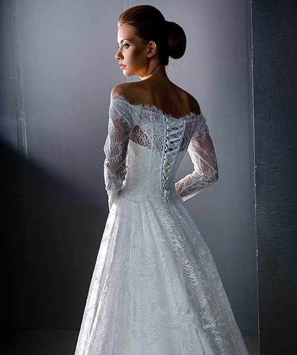 Online Shop A Line Off The Shoulder Long Sleeve Wedding Gowns With Lace Up Back Vestido De Noiva Robe Mariage Dresses