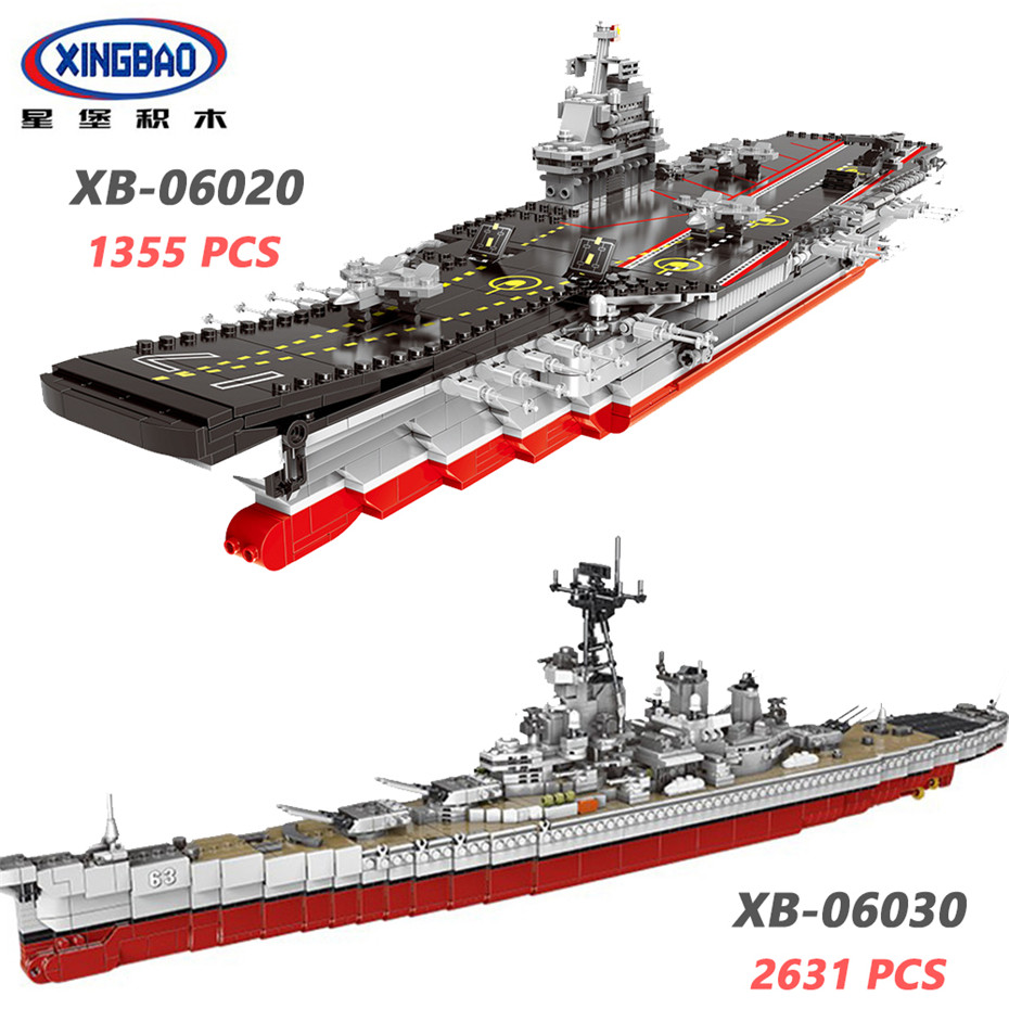 XINGBAO 06020 06030 Military Army Series The Aircraft Ship USS Missouri Battleship Sets Building Blocks Warship