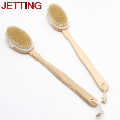 JETTING Massage Fashio Design Natural 1pc Wooden Bath Brush Long Handle Reach Back Body Shower Bristle SPA Scrubber Bathroom Acc