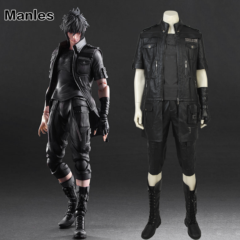 Anime Noctis Lucis Caelum Cosplay Costume Game Final Fantasy XV Jacket Clothes Adult Men Black Outfit