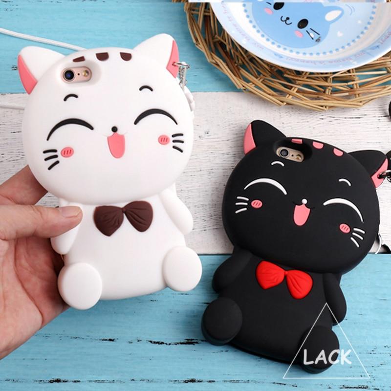 Caja del silicio 3d lindo arco gato para iphone 5s caso para el iphone 5 SE 6 6 S Plus Animal Encantador de la Historieta de Goma Cajas Del Teléfono de Nuevo cubierta