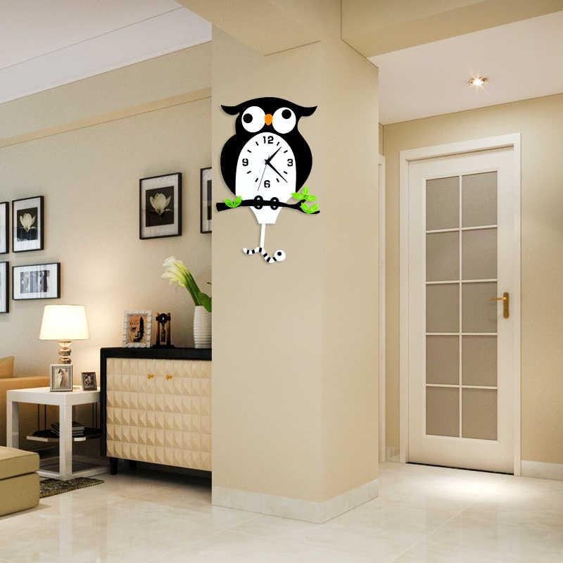 A coruja balanço relógio Mudo arte relógio nota parede Da sala de estar Moderna decoração de quartzo Moda criativa wag-on -the-wall t50
