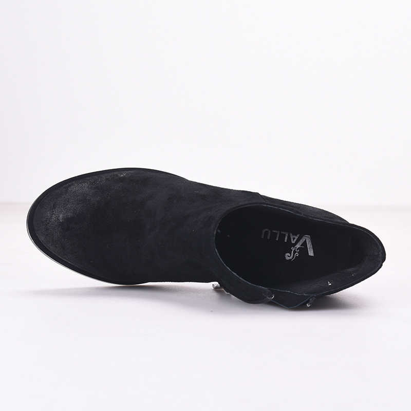 2018 VALLU nueva llegada botas de gamuza Natural para mujer punta redonda lateral cremallera bloque grueso apilado tacón alto señoras botas de tobillo negro