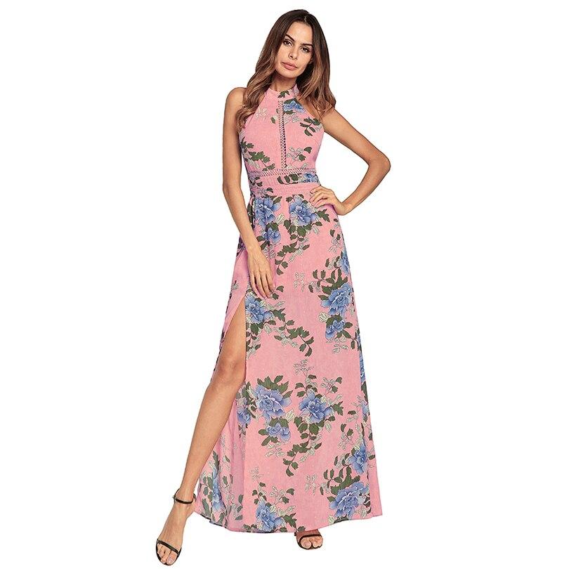 royal Livraison Maxi Imprimer Fleur Blue Gratuite Belle Dame D'été Robe Gracieux Nu Sexy Date Pink Dos Coloré ZnqZR7rw