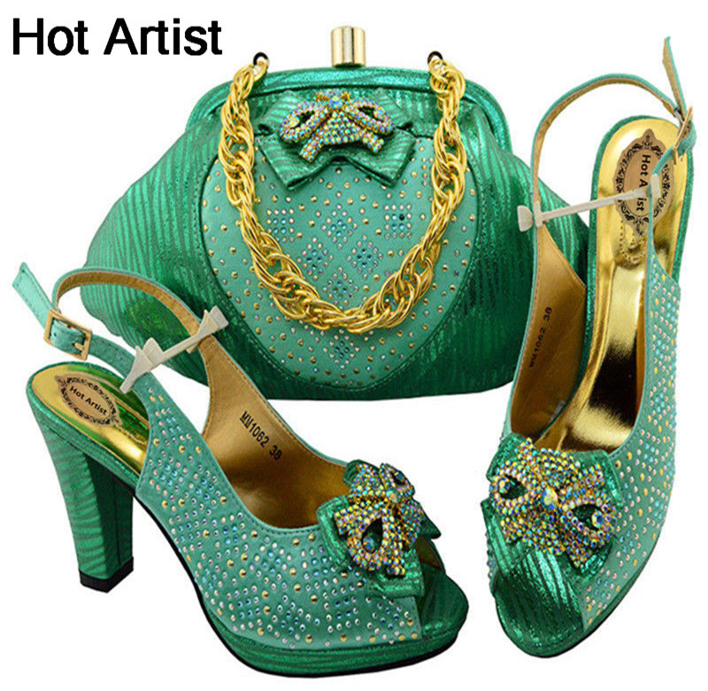 Hot Artist High Quality Fashion Ladies Shoes And Bag Set Italian Style High Heels Shoes And Bags Set For Wedding Dress MM1062