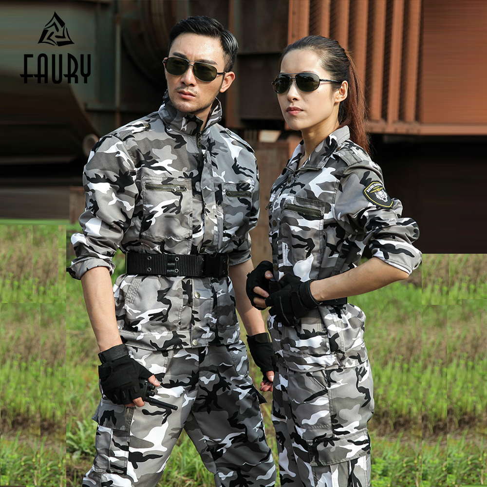 Snow Camouflage Suits Men Women Military Training Uniforms Special Forces Combat Wear Training Military Protective Work Clothes image