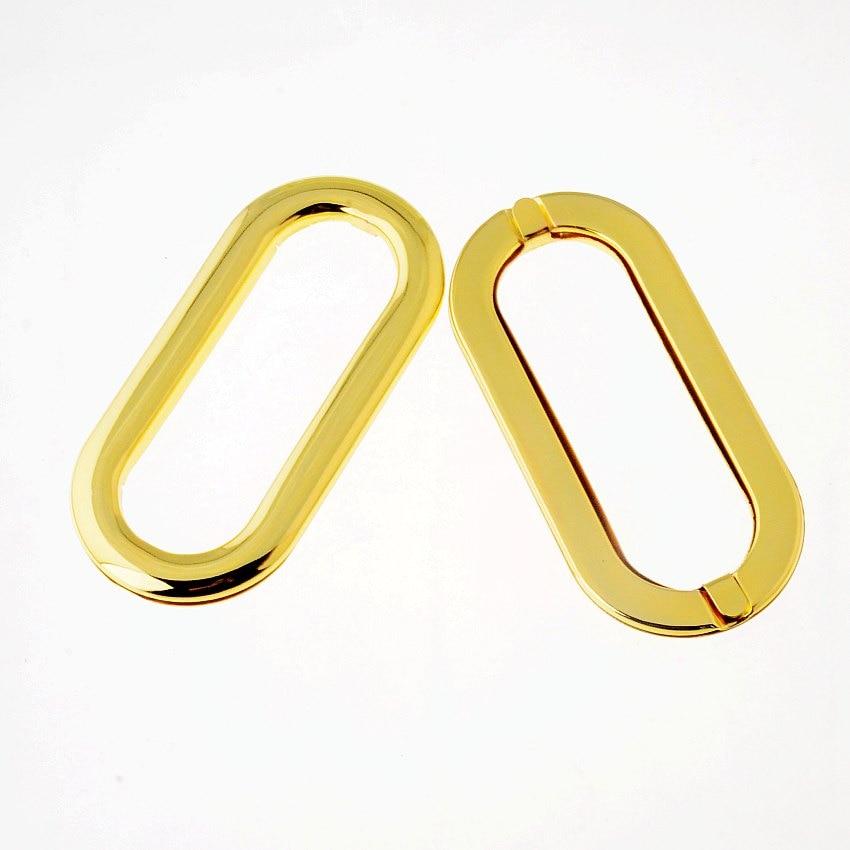 Free Shipping-2 Sets Gold Plated Purse/Handbags Insertion Component Metal Oval Handle Ring Lock DIY Handmade 11x5.2cm J3511