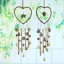 В форме сердца, колокольчики, металлические трубки, колокольчики для украшения дома и сада, Висячие колокольчики, украшения, Ловец снов, подарки для рукоделия, домашний декор