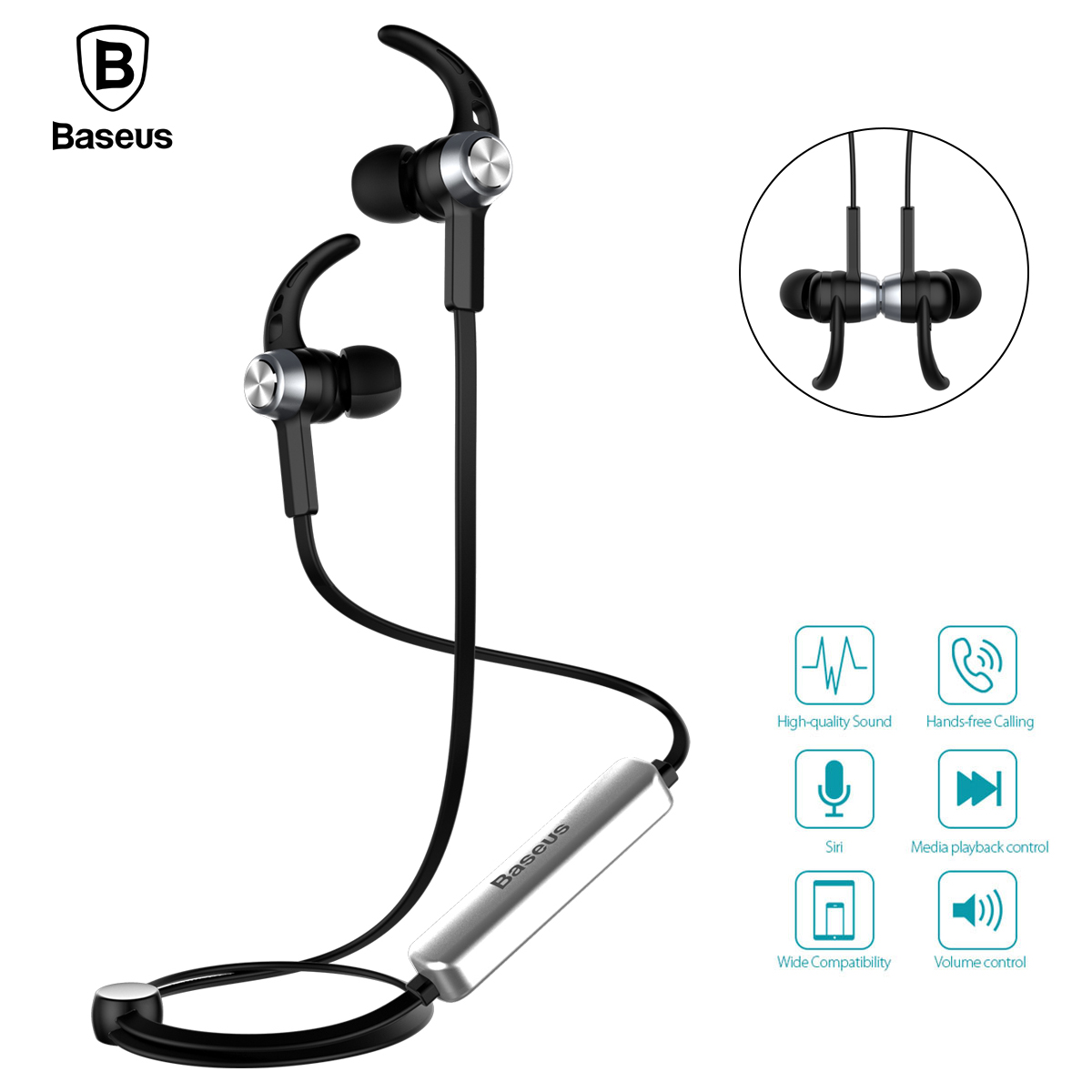 Baseus Magnet Wireless Bluetooth Earphone Headphone B11 For iPhone 7 Samsung Sport Running Stereo Hifi With Mic In ear Headset baseus magnetic bluetooth earphone for iphone 7 samsung s8 wireless sport running stereo in ear earbuds headset mp3 mp4 earpiece