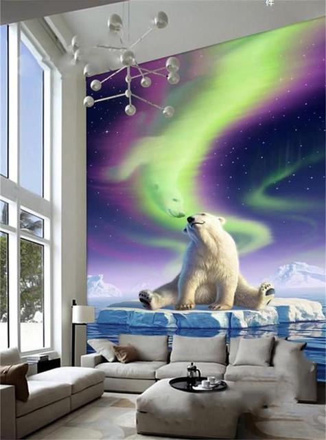 3d wallpaper photo wallpaper custom mural living room porch polar bear  aurora borealis 3d painting wall