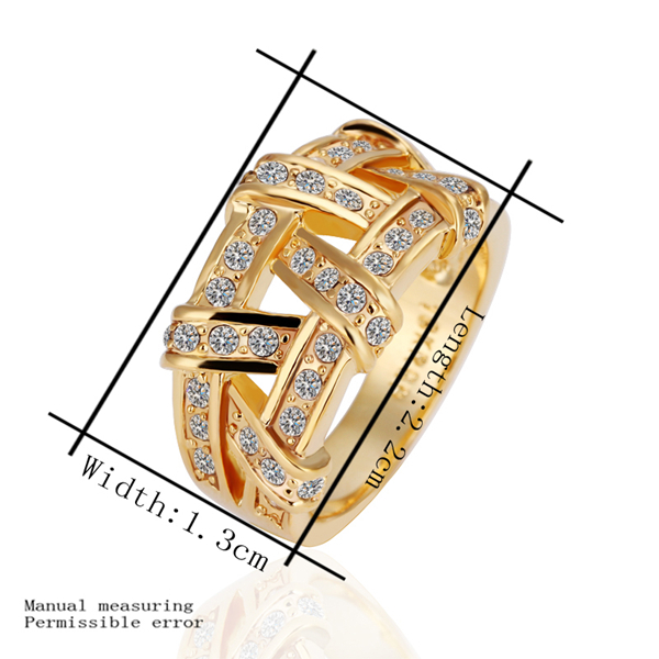 2018 new real 24k Gold plated fashion jewerly wide big Rope cross with crystal for women wedding Ring Fine jewelry