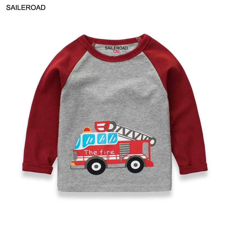 SAILEROAD 2-9Years Children Kids Boys T Shirt Cotton Boys Girls Long Sleeve T Shirts Autumn New Baby Fire Fighting Truck Shirts