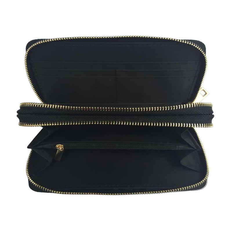 Fashion Leopard damski portfel z dwoma zamkami błyskawicznymi damski długa skórzana torebka damska etui na karty torba kopertówka o dużej pojemności torby