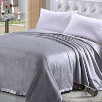 Decorative Silk Throw Blanket Large Sofa Couch or Bedroom Decor Breathable Cooling Fabric 180cmx200cm Grey