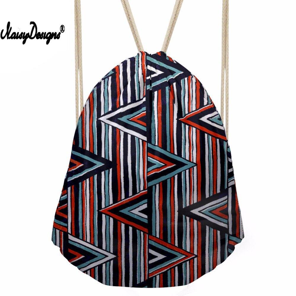 Women s Geometry Pattern Drawstiring Bag Teenagers Fashion Sport Pouch Kids School Packing Bags Travel Gift