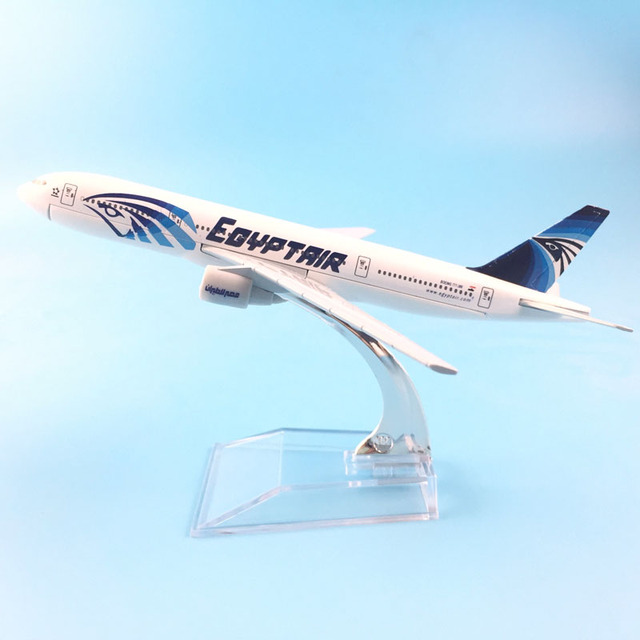16cm Metal Alloy Plane Model EGYPT Air Airways Boeing 777 B777 Airlines Airplane Model w Stand Aircraft toys for children Gift