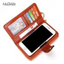 Muurdde Women Wallet Clutch Genuine Leather Wallets Female Organizer Cell Phone Clutches Money Bag Long Zipper Coin Purse Pocket недорого