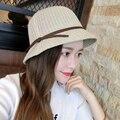ALTA calidad Cúpula ala bowknot sombrero de Paja de ala Ancha playa de vacaciones sombrero para el sol dorado Caliente Sombrero Del Cubo Del Verano Del estilo Europeo 2016