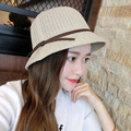 HIGH quality Dome brim bowknot Straw hat Wide brim beach holiday sun hat gilt Hot European style Summer style Bucket Hat 2016