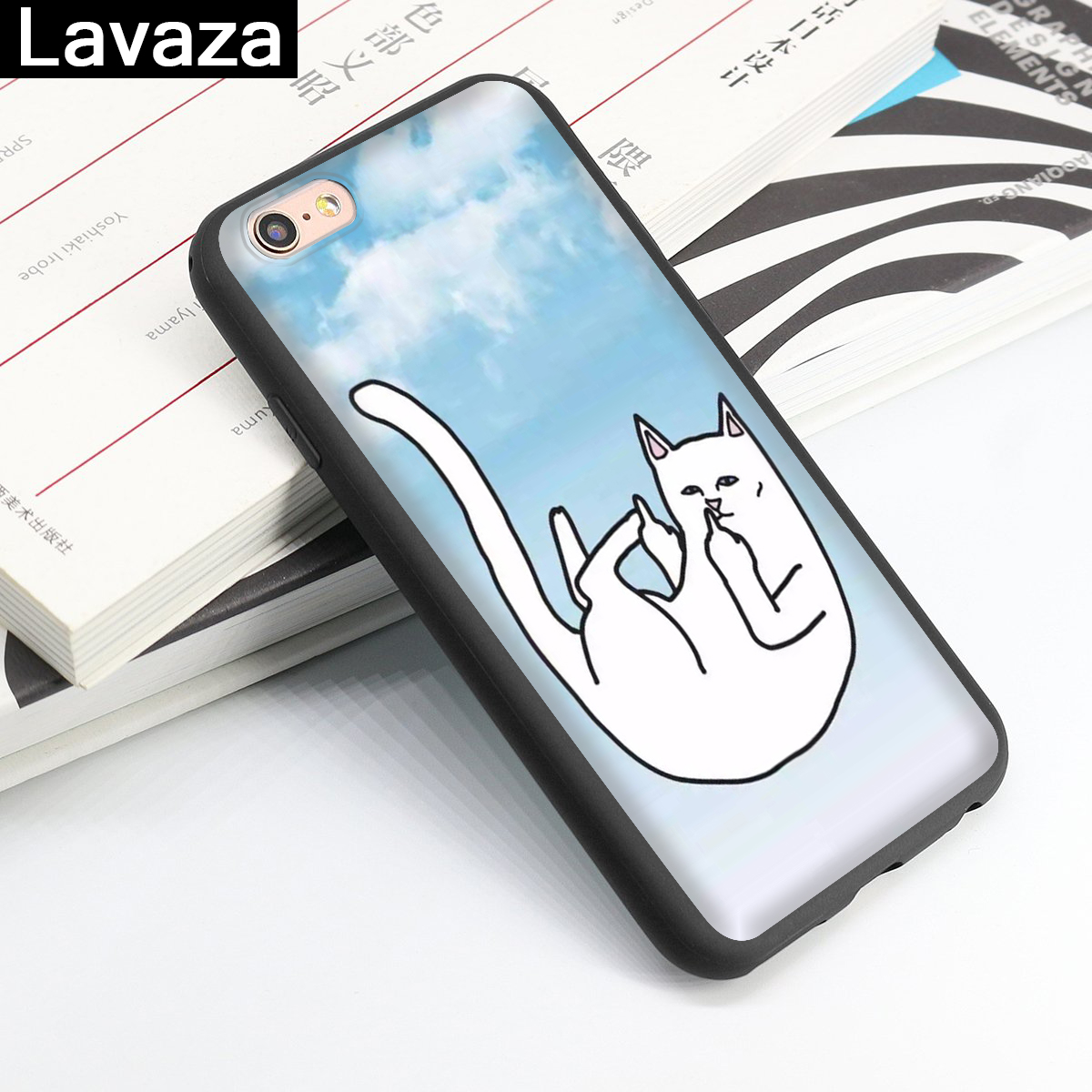 Lavaza Fashion Cute Funny Cat Printed Silicone Case for iPhone 5 5S 6 6S 7 8 11 Pro Plus X XR XS Max in Fitted Cases from Cellphones Telecommunications