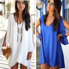 2014 5 color v-neck dresses half perspective chiffon dress women long-sleeved loose chiffon dress