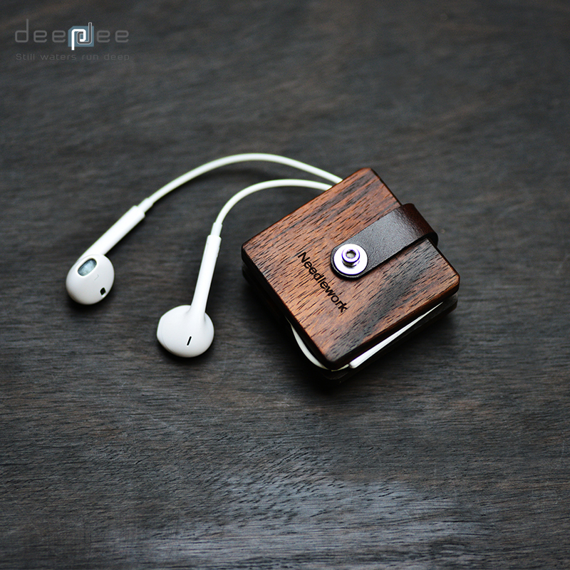 DEEPDEE Earphone Cable Winder Wrapped Leather USB Cable Organizer Wooden Box Retro Cord Clips Holder Cable Storage Gift Box 1pc brown leather headphone earphone cable tie cord organizer wrap winder holder