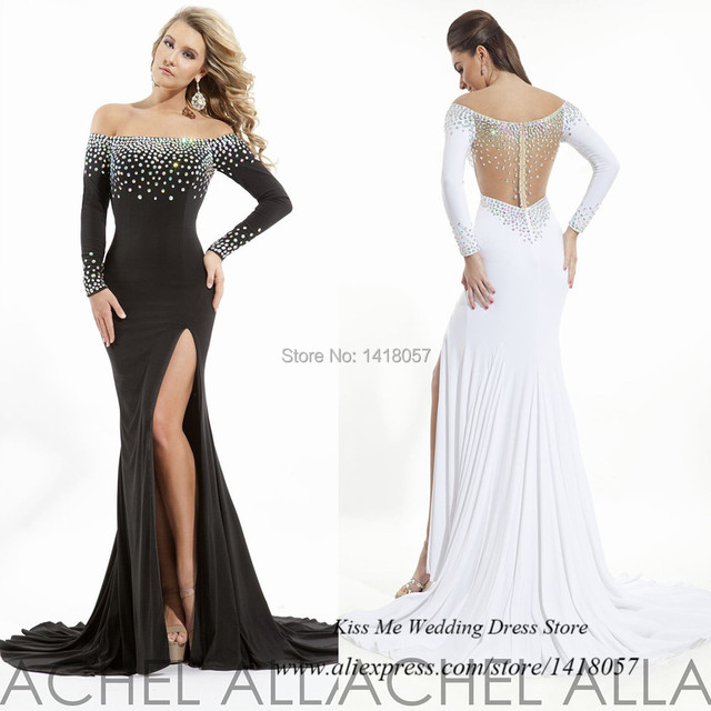 bdcd7e9bb50f Black White Mermaid Long Sleeve Prom Dress Abendkleider Crystal 2015 Long  Evening Gowns Chiffon off Shoulder Vestidos de Gala