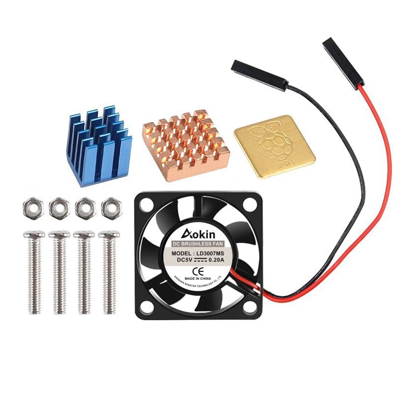 Вентилятор охлаждения с винтами 5 В/3,3 В + радиатор, 1 алюминий с 2 медью для Raspberry Pi 3 / Pi 2 Model B RPI B +