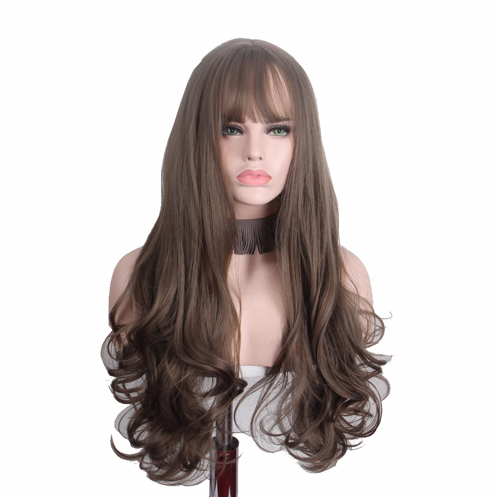 Anxin Long Curly Wigs with Bangs for Women Brown Cosplay Wig Womans Hair Synthetic Heat Resistant High Temperature ...