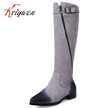 2016 NEW Winter arrive PLUS SIZE 33-43  Women's Brand Genuine Leather riding Boots Ladies Fashion cow Long Boots Knee high Boots