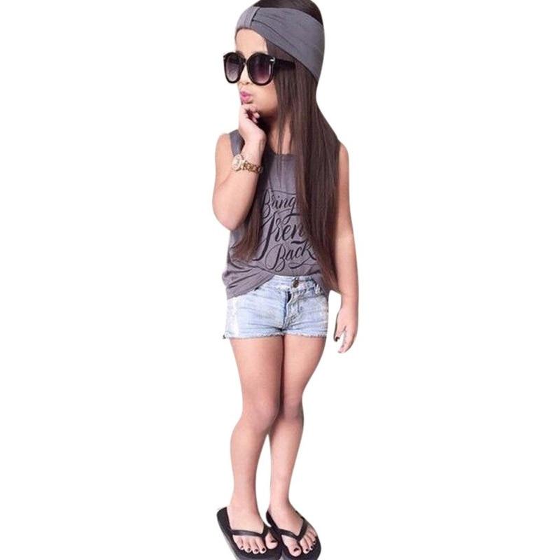 где купить Trendy Kids Baby Girl Outfits Sets Headband+Short Sleeve Tops T-shirt+Jeans Pants Clothes 2-6 Years 3 Pcs по лучшей цене