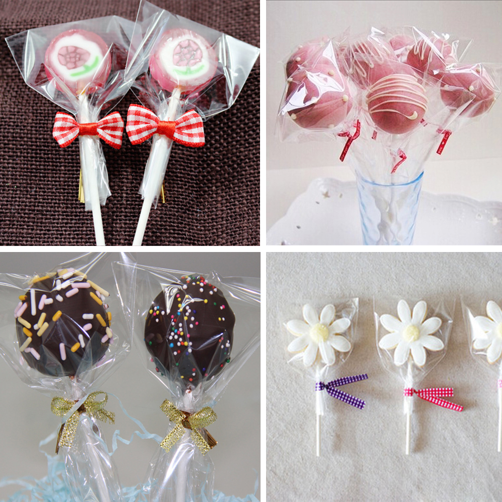 Samll Plastic bags 6size Clear Cellophane Cake Pop Bags ...