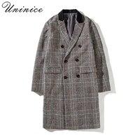 새로운 남성 겨울 패션 남성 신사 울 코트 bleads 두꺼운 모직 코트 물떼새 남성 더블 버튼 긴 격자 무늬 정장 코트