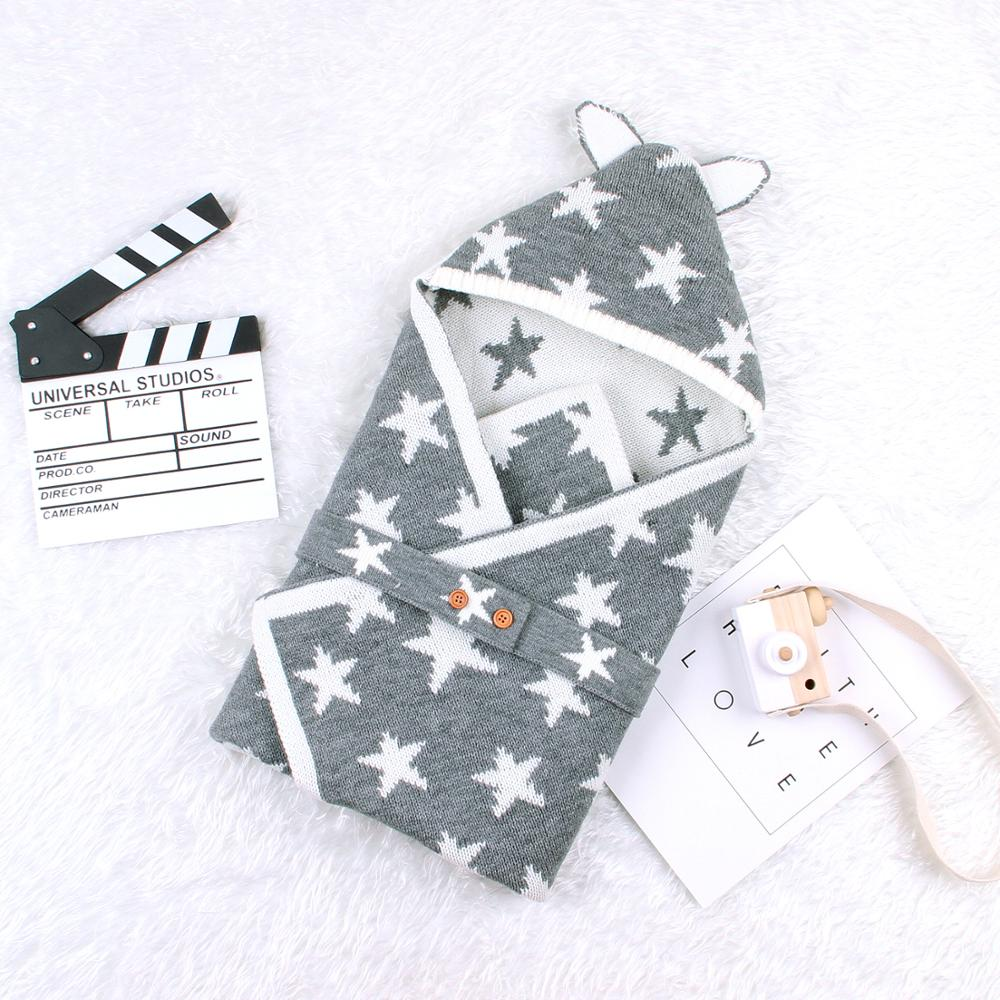 Baby Sleeping Bags Envelope For Newborn Girls Cocoon Cute Five Star Knitted Infantil Bebes Swaddle Wrap 0-6Months Boys Discharge