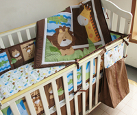 Promotion 5pcs Embroidered Baby Bedding Piece Set Cotton Crib Pieces Set Include Bumper Duvet Bed Cover