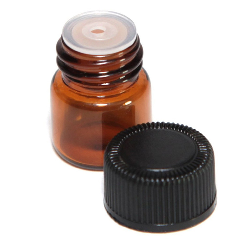 Bottle Empty 12pc 1 ML Amber Essential Oil Bottle With Orifice Reducer And Cap