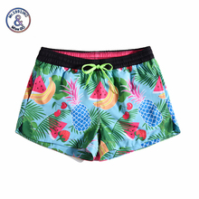Women Summer Shorts Casual Drawstring Waistband Tropical fruit 3D print Beach Style Swim Pool with Pocket Loose Female Shorts