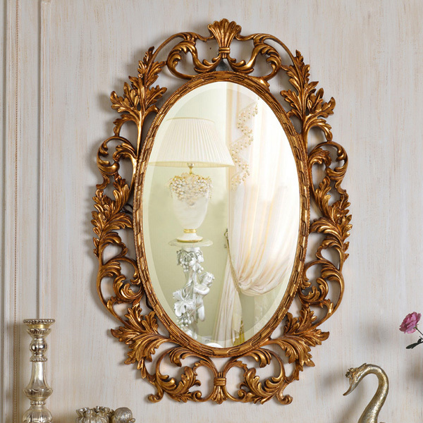 European Refined Resin Oval Mirror Antique Frame Luxury Decor Wall Art Hotel Or Beauty Salon Or