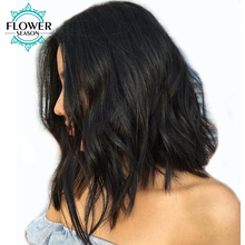 FlowerSeason Natural Wave 150% Density Pre Plucked Short Lace Front Wigs Bob Brazilian Non-Remy Human Hair With Baby Hair